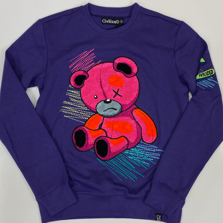 Civilized- scribble bear crewneck