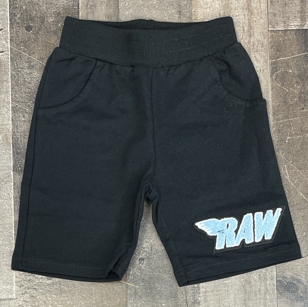Rawyalty- raw chenille patch shorts (black/lt blue) (kids)