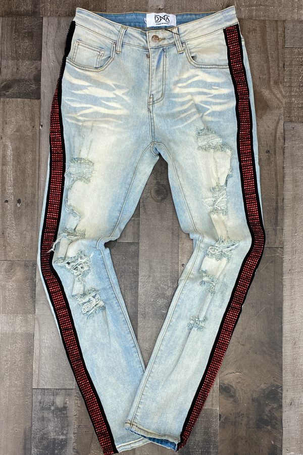 Dna Premium Wear- studded stripe denim jeans (red/black)