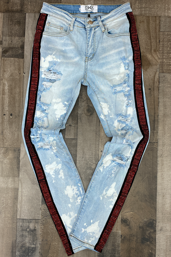 Dna Premium Wear- studded striped bleached denim jeans (red/black)