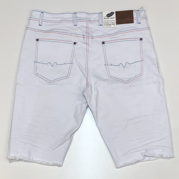 Blac Leaf- white denim shorts