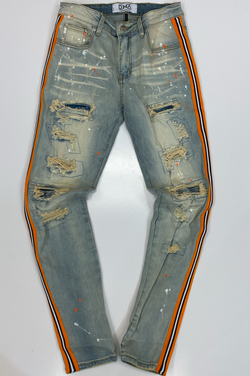 Dna Premium Wear- paint splattered striped jeans
