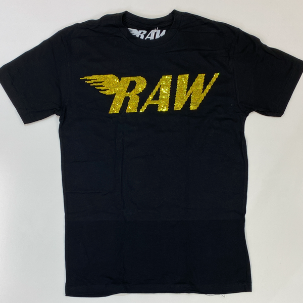 Rawyalty- studded raw ss tee (black/yellow)