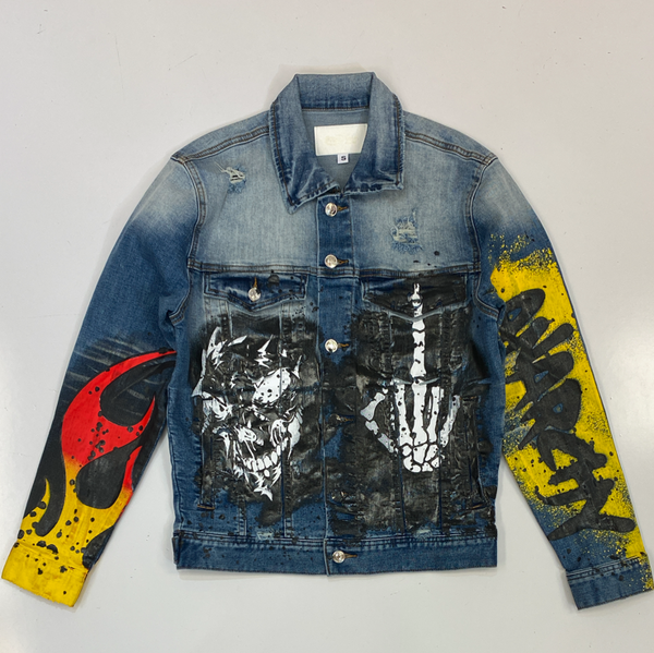 Mackeen- anarchy printed denim jacket (blue)