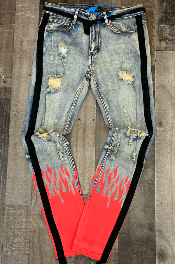 Cooper 9- flame stripe denim jeans (red/black)