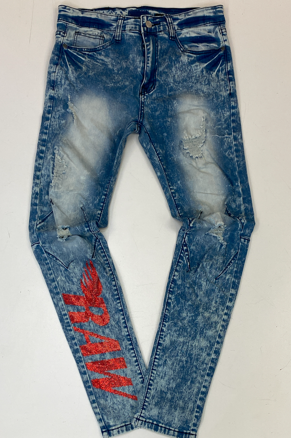 Rawyalty- studded raw denim jeans