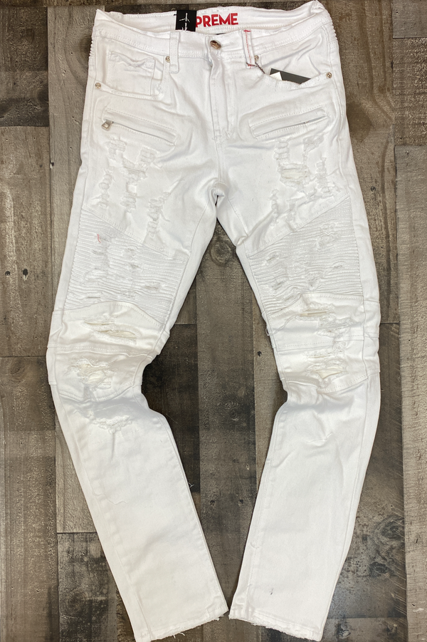 Preme- shredded spot denim jeans