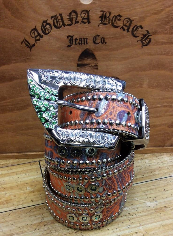 Laguna beach- crystal cove orange crocodile leather belt