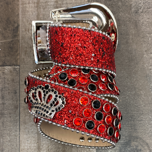 Dna Premium Wear- studded sparkly belt w/crowns (red/black)