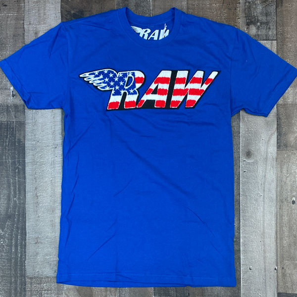 Rawyalty- USA raw chenille patch ss tee (blue)