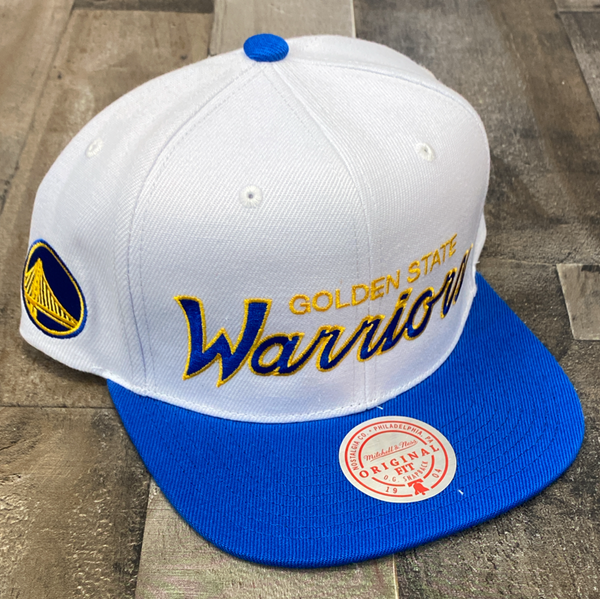 Mitchell & Ness- nba heritage script white snapback Warriors