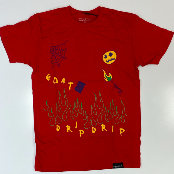 "Cooper 9- ""flame on drip"" ss tee (red)"