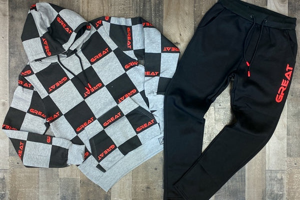 Retro- Great sweatsuit (grey/black)