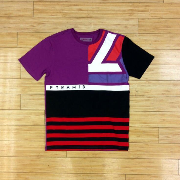 BLACK PYRAMID-PURPLE LOGO STRIPED COLOR BLOCK TEE