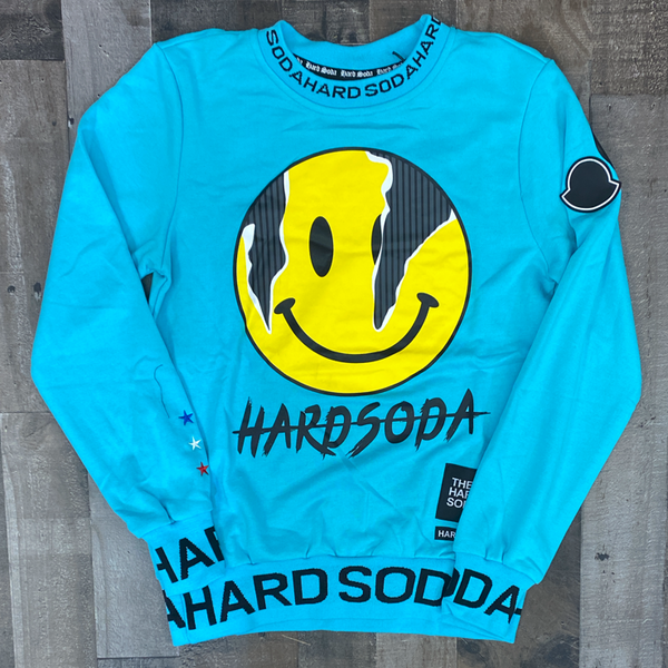 Hard Soda- smiley Face crewneck (sky blue)