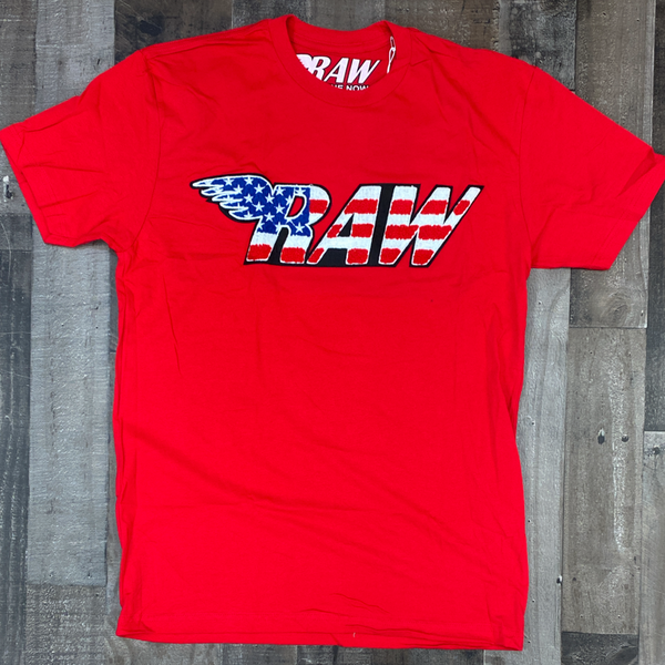 Rawyalty- USA raw chenille patch ss tee (red)