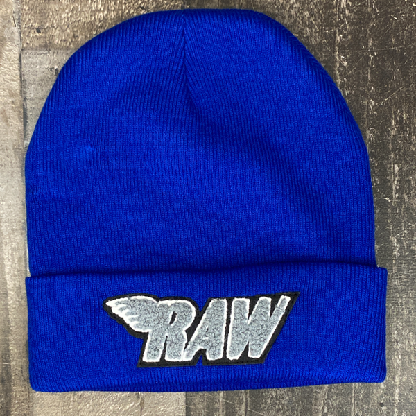Rawyalty- raw chenille patch knit hat (blue/grey)
