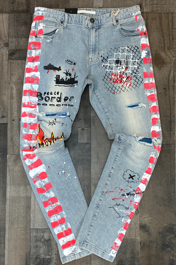 Kloud 9- denim pants w/graffiti sides