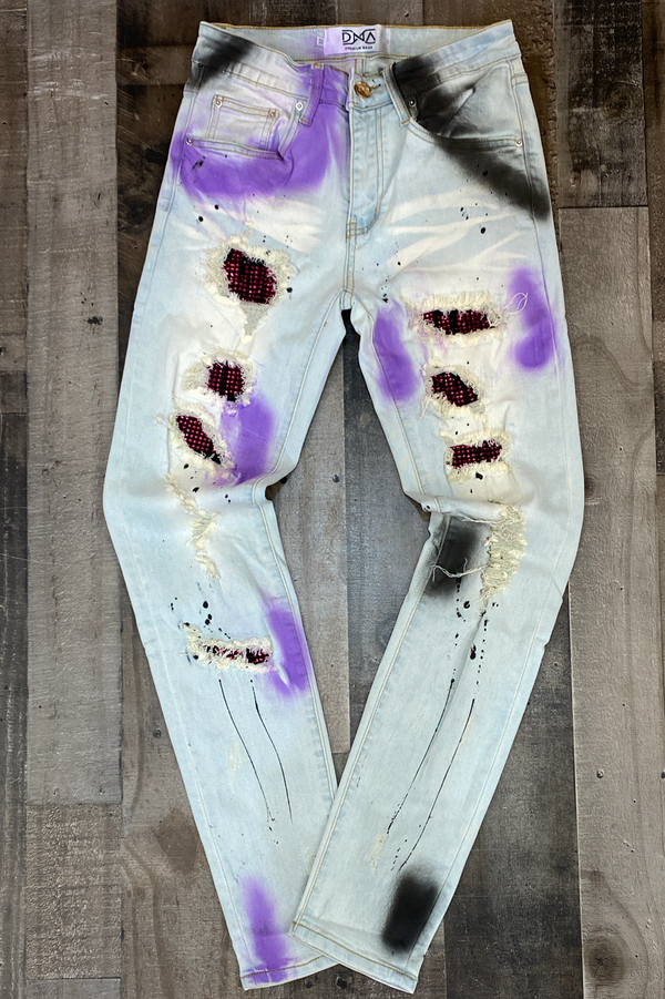 Dna Premium Wear- studded patch w/spray paint jeans (purple/black)