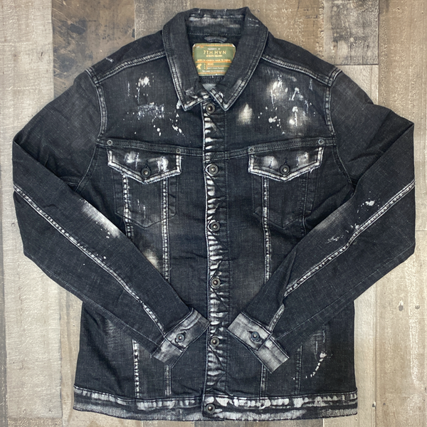 7th hvn-  splattered jean jacket (black)