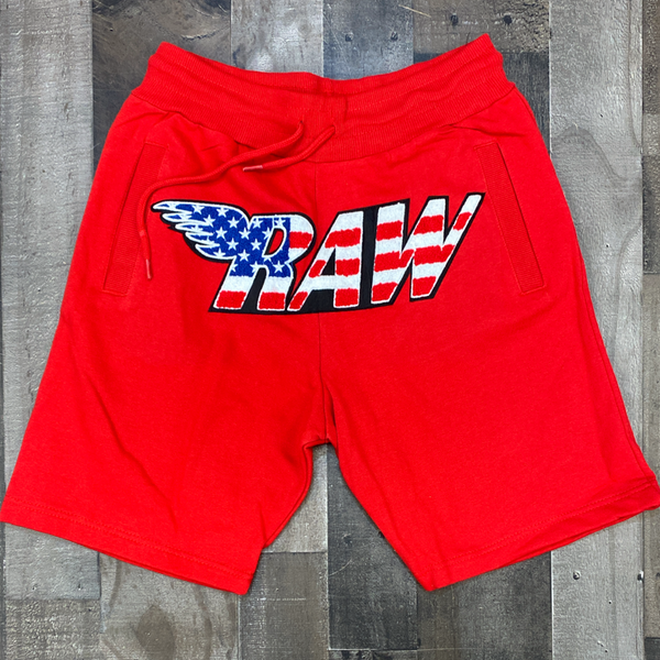 Rawyalty- USA raw chenille patch shorts (red)