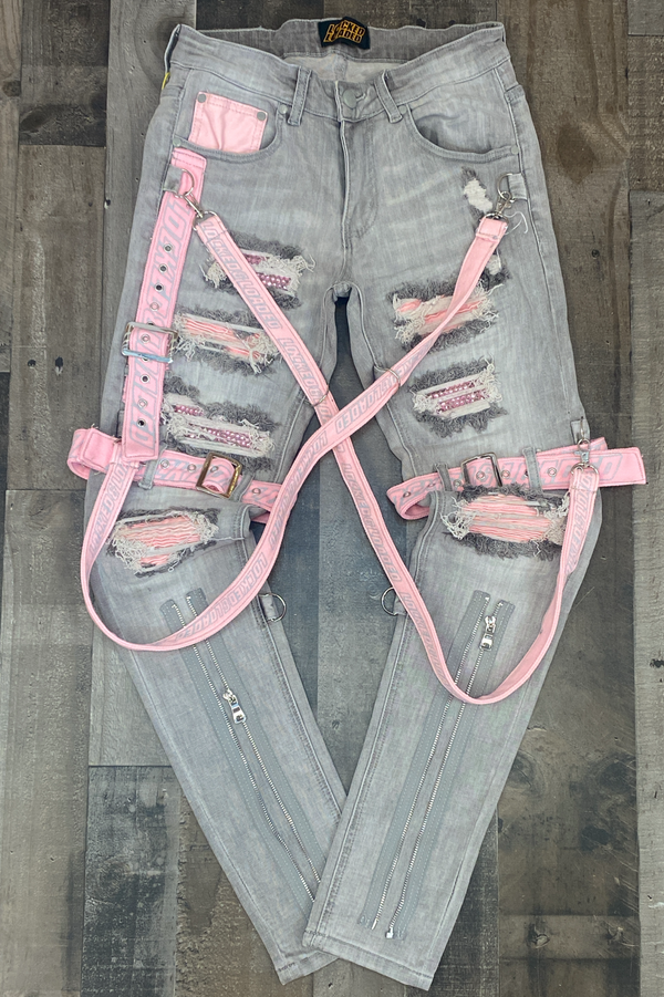 Locked Loaded- locked & loaded strapped jeans (grey/pink)