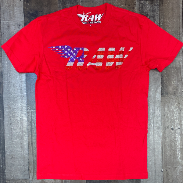 Rawyalty- studded raw ss tee (USA)(red)