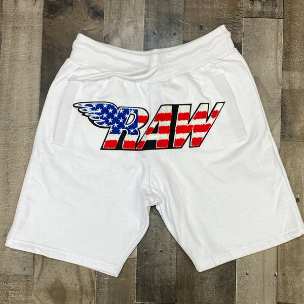 Rawyalty- USA raw chenille patch shorts (white)