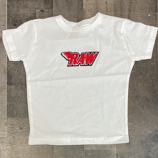 Rawyalty- raw chenille patch ss tee (white/red) (kids)