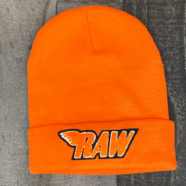 Rawyalty- raw chenille patch knit hat (orange)