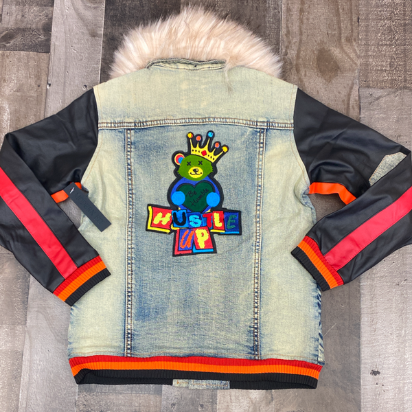 Elite- rise up denim jacket (med blue) (kids)