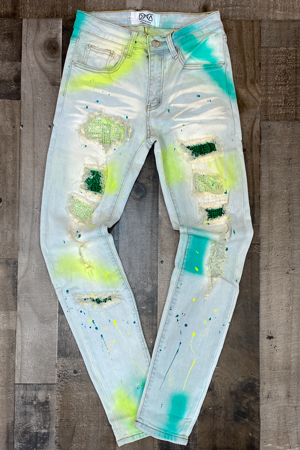 Dna Premium Wear- studded patch w/spray paint jeans (lime/teal)