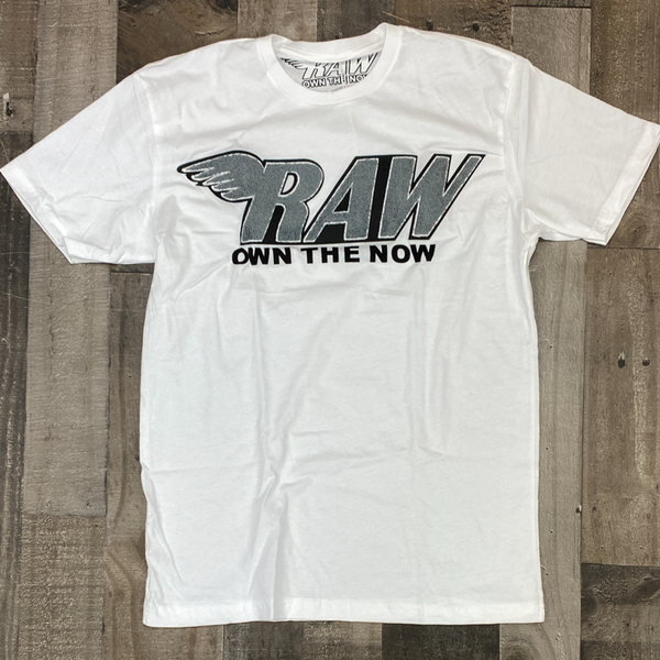 Rawyalty- raw chenille patch ss tee(white/grey)