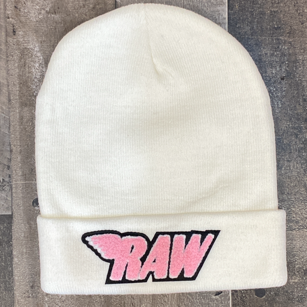 Rawyalty- raw chenille patch knit hat (cream/pink)