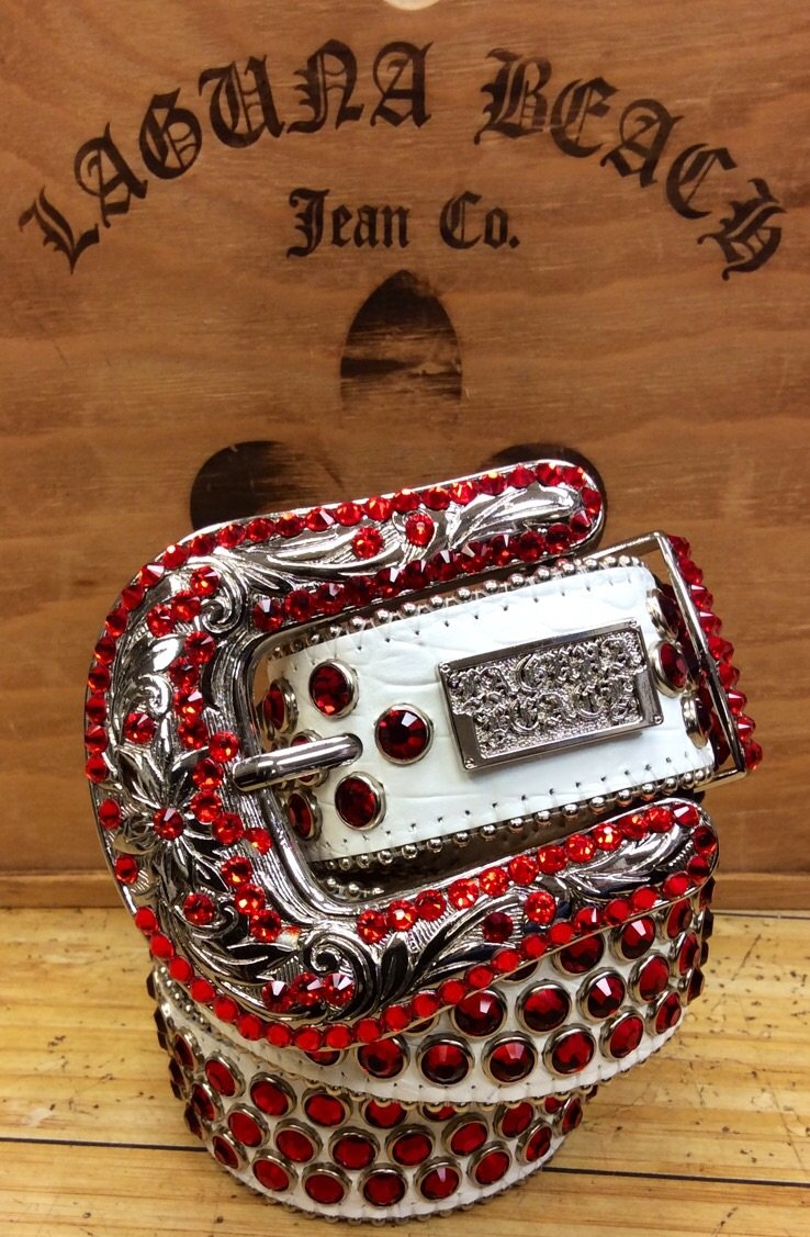 Laguna beach- Capistrano white crocodile leather belt covered w. red stones