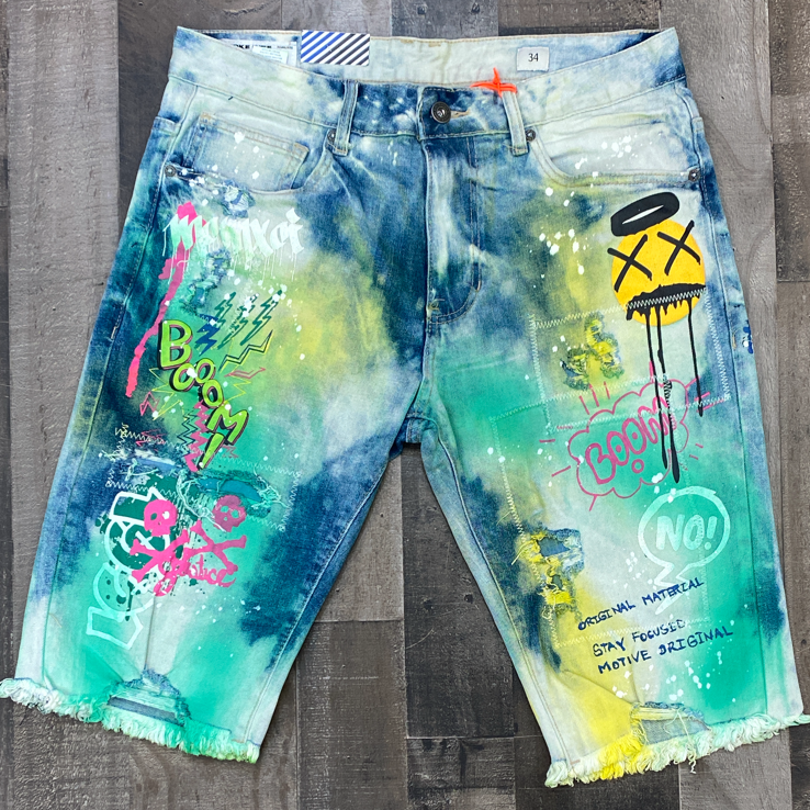Smoke rise- painted tie dye shorts