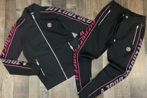 George V- zip up studded strip sweatsuit (black/pink)