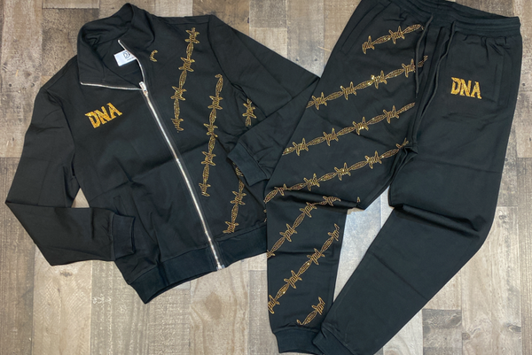 Dna Premium Wear- studded wire sweatsuit (black/gold)