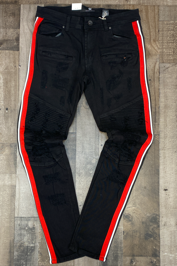 Focus- striped jeans (black/red)
