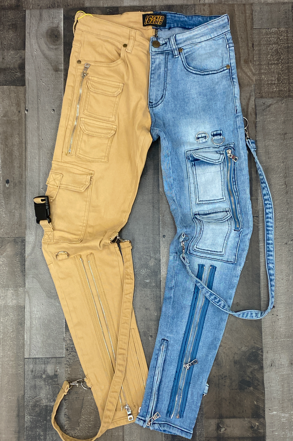 Locked Loaded- split strapped jeans (khaki/lt blue)