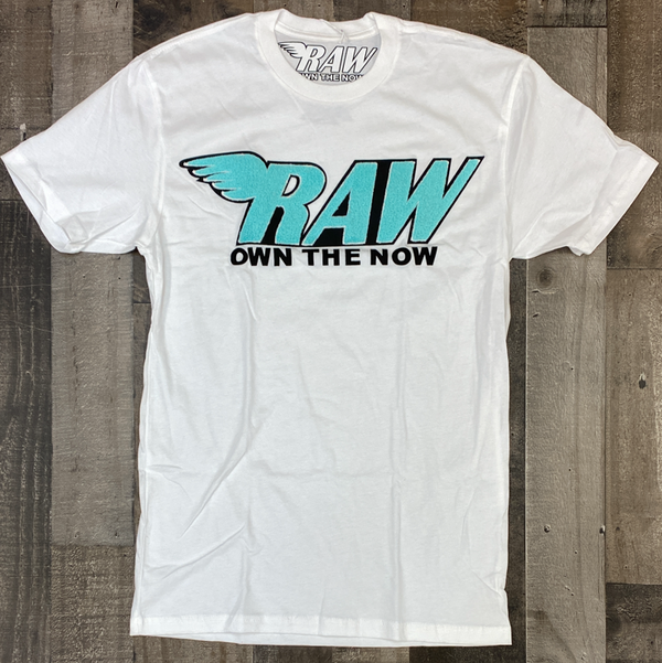 Rawyalty- raw chenille patch ss tee(white/teal)