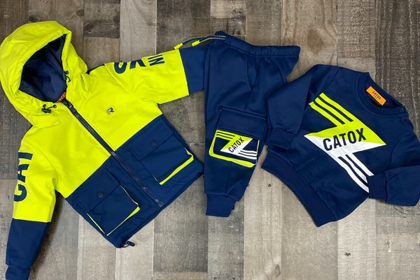 Catox Denim- colorblock sweatsuit (lime/navy) (kids)