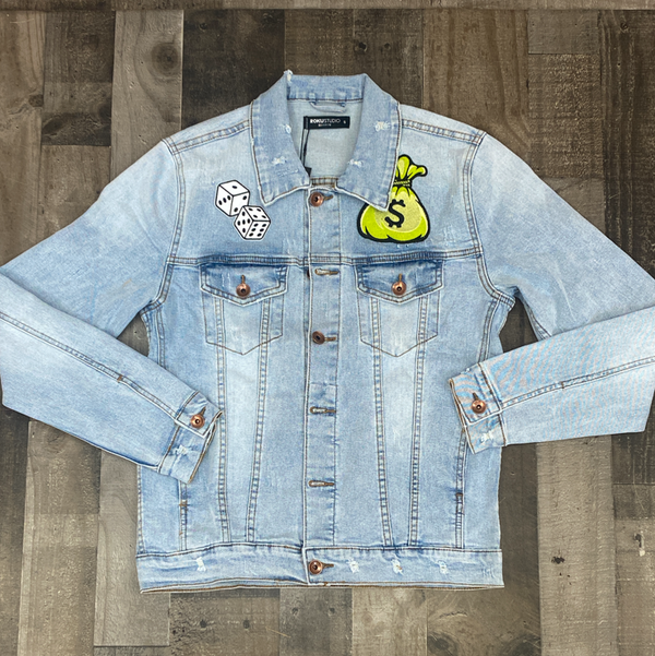 Roku Studio- it's a gamble jean jacket (lt blue)