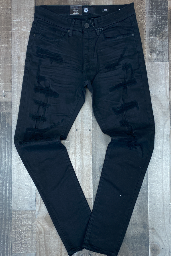 Jordan Craig- jet black slim tapered jeans