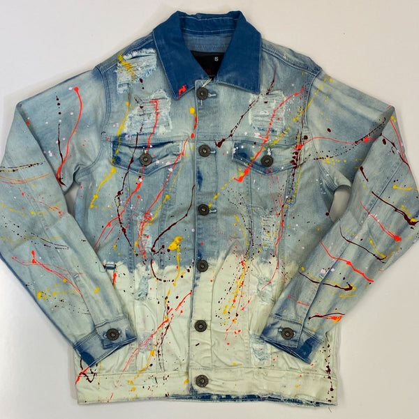 Focus- 2 tone paint splatter denim jacket