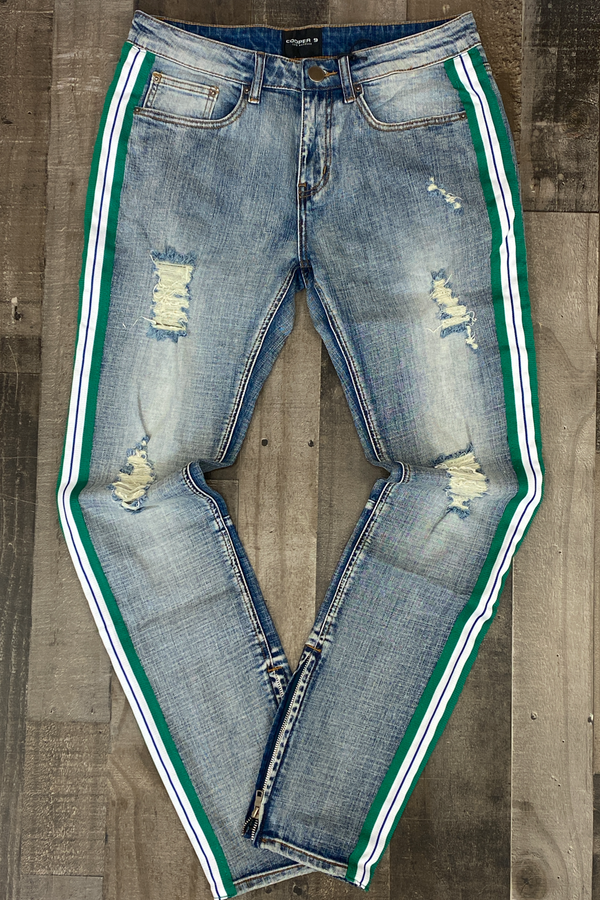 Cooper 9- denim jeans w/zipper (pine green)
