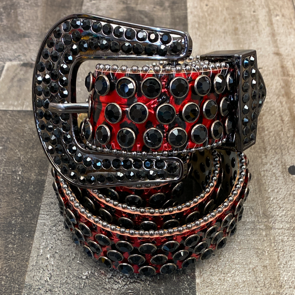 Dna Premium Wear- studded cheetah print belt (red)