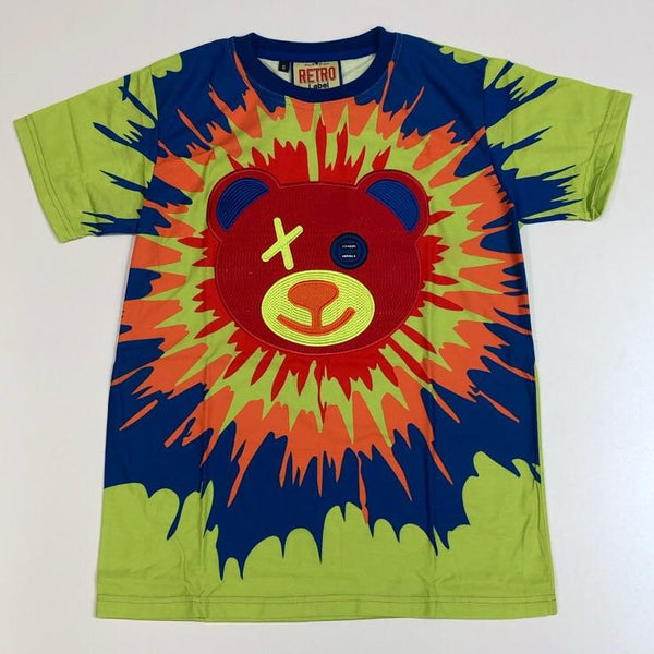 Retro Label- splatter tie dye red bear ss tee