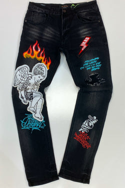 Majestik- graphic patched denim jeans