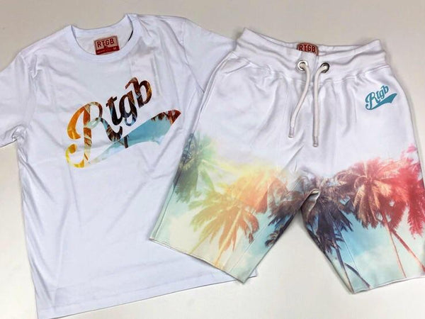 Red tag- palm trees shorts sets